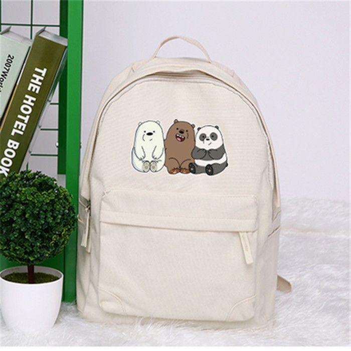 3802fdb75d01 We Bare Bears Backpack Grizzly Panda Ice Bear Zipper Knapsack Canvas  Schoolbag