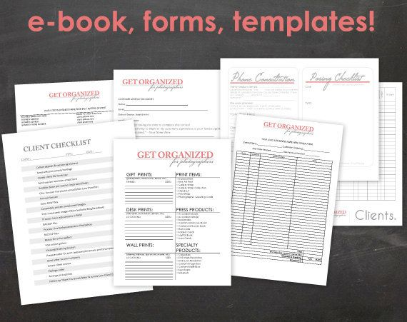 Get Organized FOR PHOTOGRAPHERS Photography Business Forms, E-book