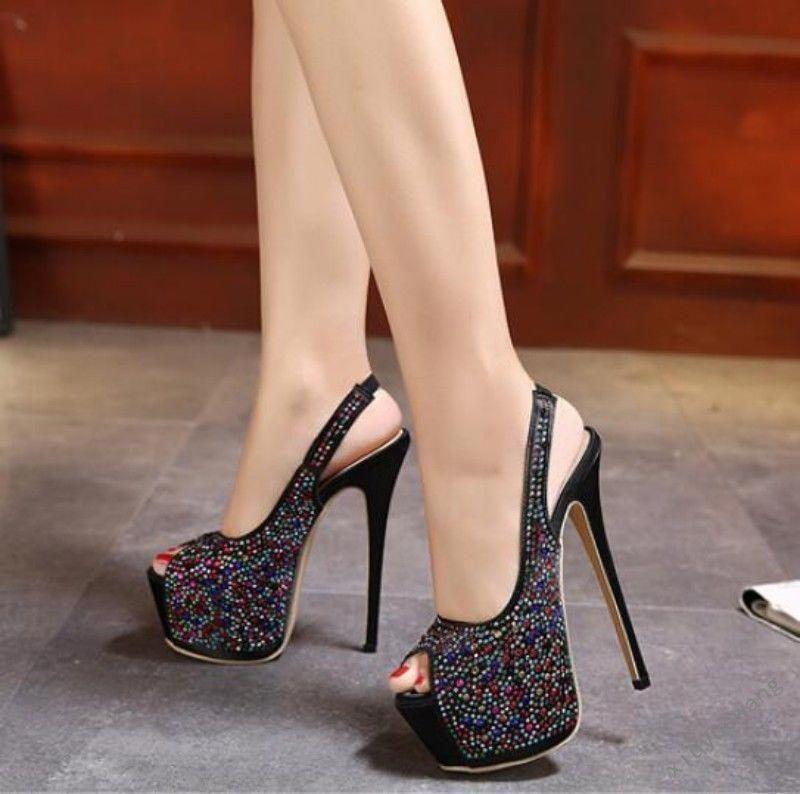 Womens Over High Heel Stiletto Open Toe High Platform Slingback Shoes  Sandal SZ  Shoeshighheels 33645794b54d