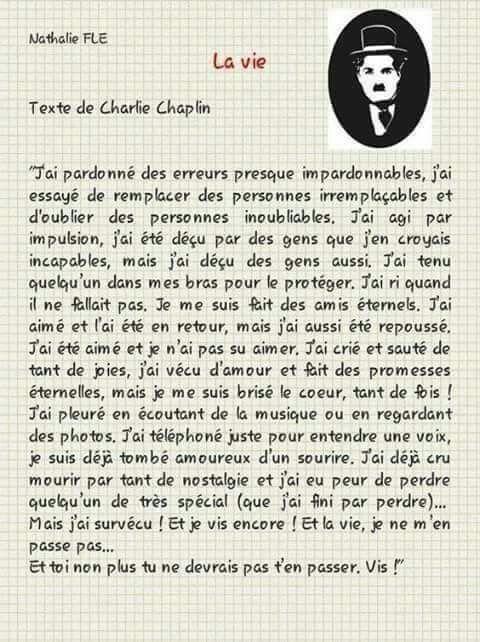 Lettre D Amour De Charlie Chaplin Mots Sympas Pensées