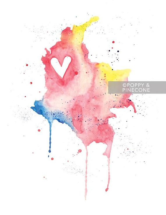 5x7 or 8.5x11 Colombia Love / Watercolor Map Print / Wedding