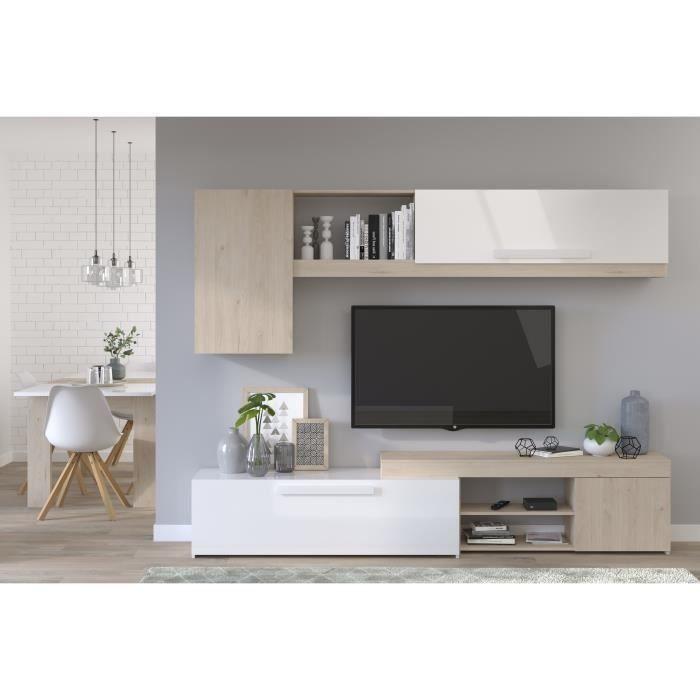 Backstage Meuble Tv Decor Chene Jackson Et Blanc Brillant L 250cm In 2020 Living Room Tv Living Room Tv Cabinet Modern Furniture Living Room