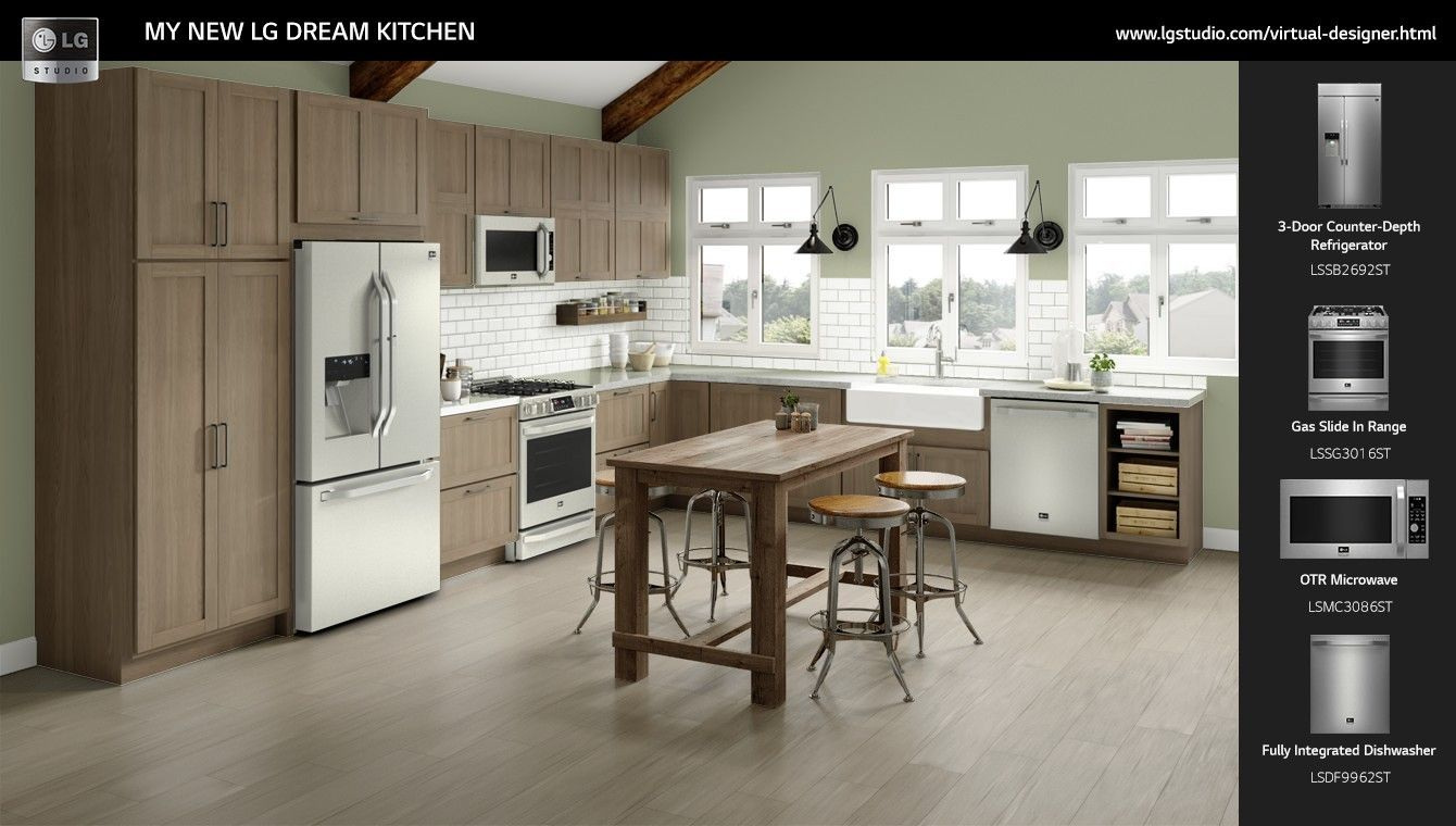 I Just Designed My Perfect Kitchen With The Lg Virtual Designer Was Able To Choose From Hundreds Of Options Like Counters Cabinets Innovative Home
