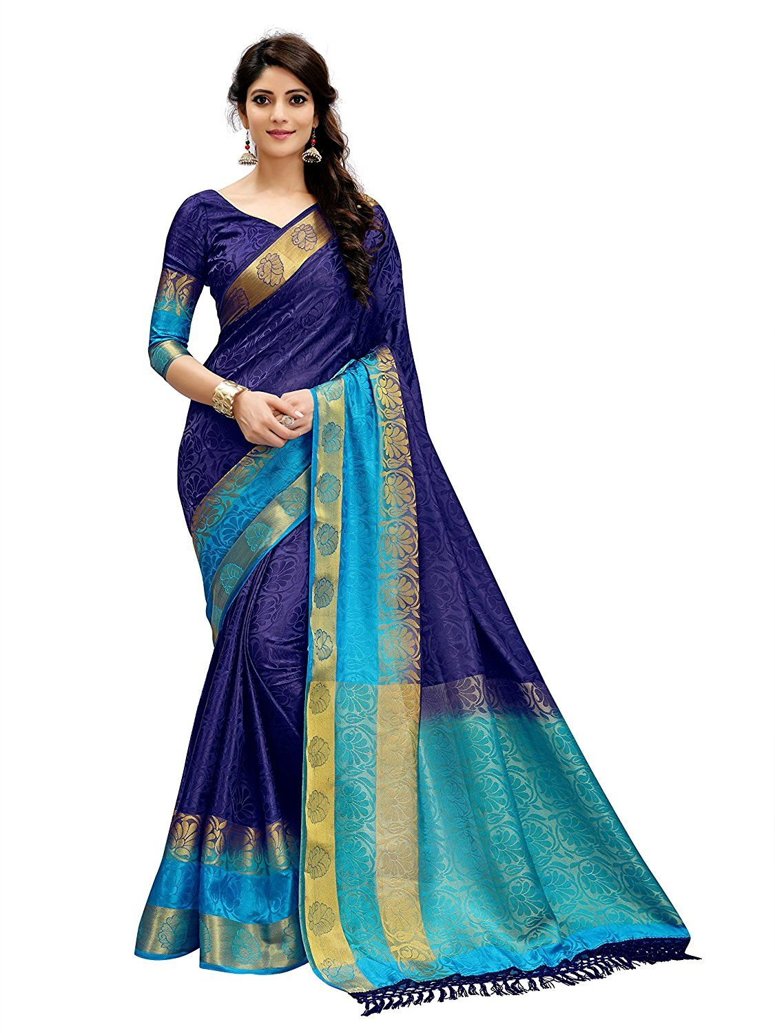 97b4783277c9f9 Tagline Women s Cotton Silk Saree (VTULIGH001BLUE Blue)  Amazon.in  Clothing    Accessories