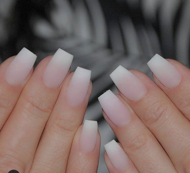 These Matte Ombre French Acrylics Nails No Polish French Tip Acrylic Nails French Acrylic Nails Square Acrylic Nails