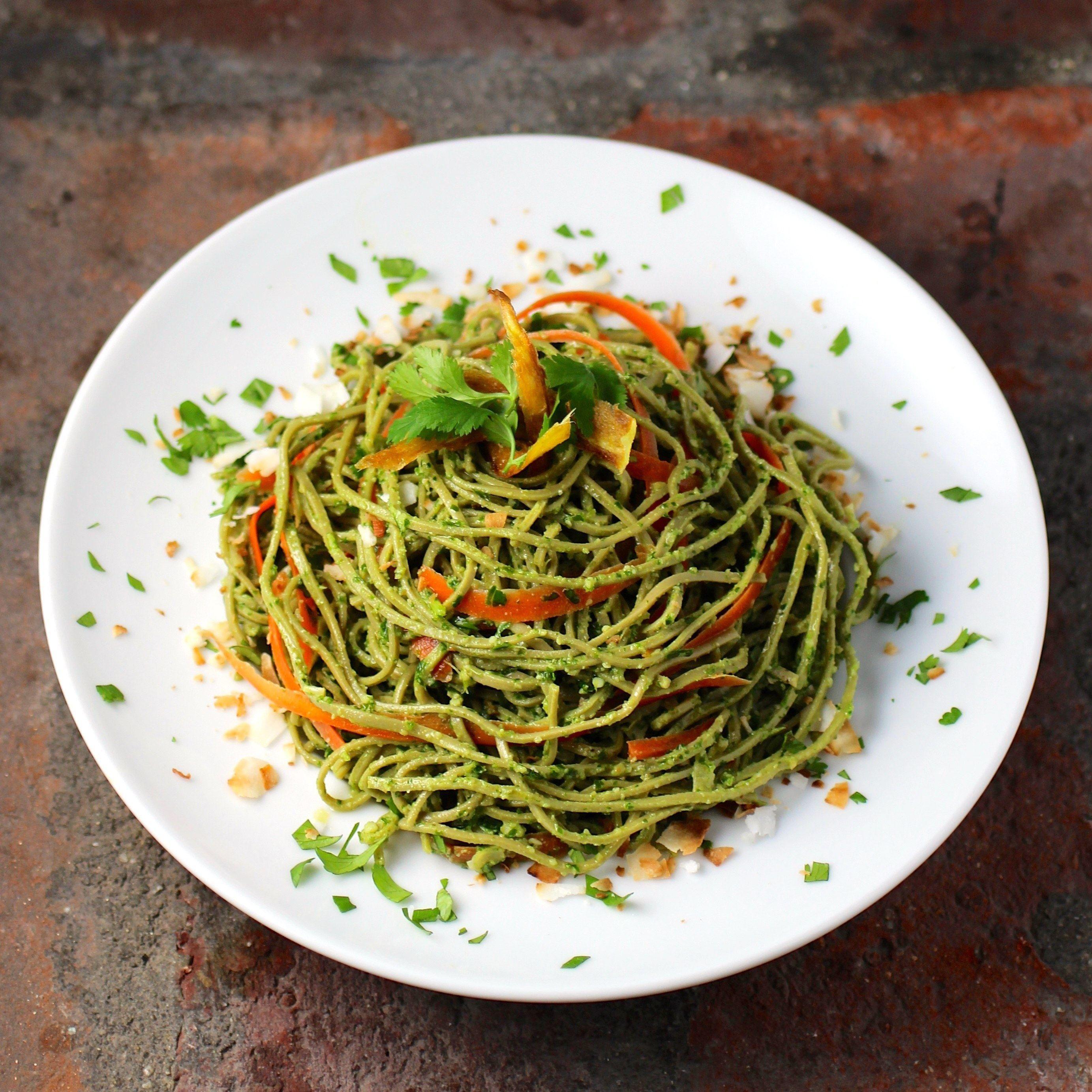 Edamame Spaghetti With Kale Cilantro Pesto Recipe Edamame