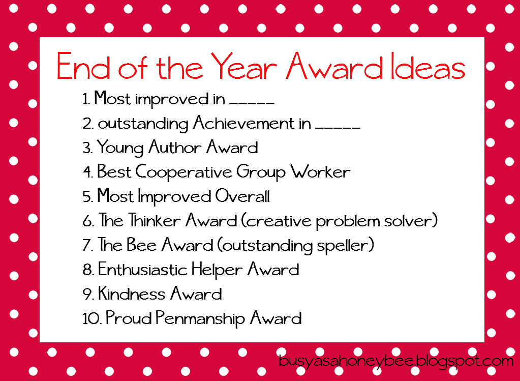 End Of The Year Award Ideas For Teachers Resources Too