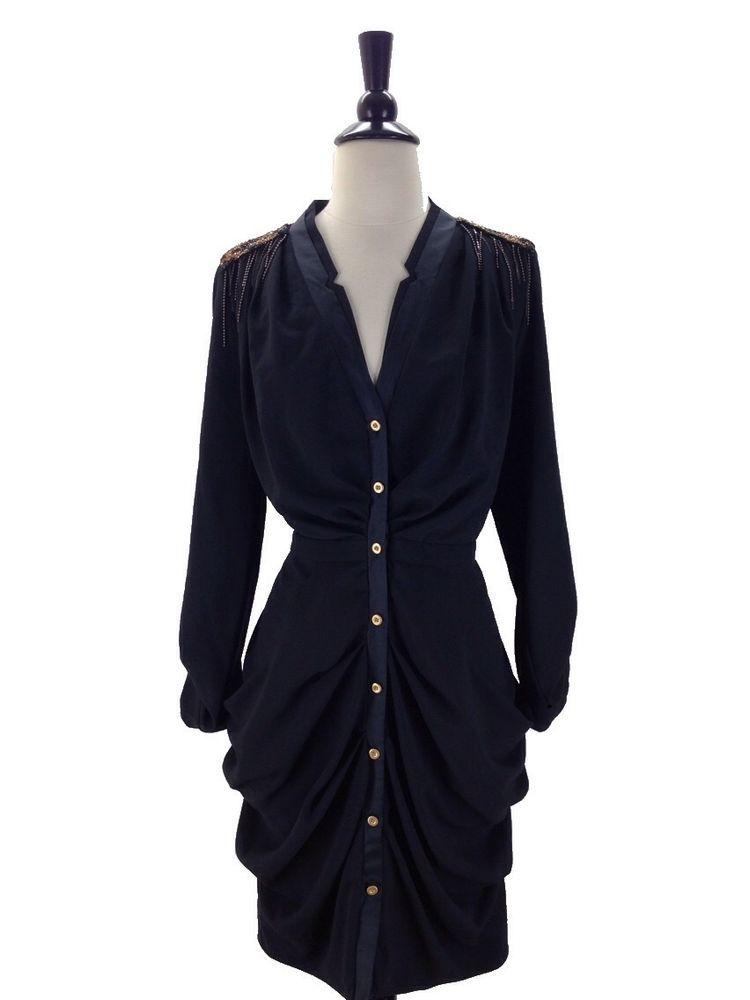 Leifsdottir size 4 S Black Ruched Long Sleeve Dress Beaded Shoulders #Leifsdottir #LittleBlackDress