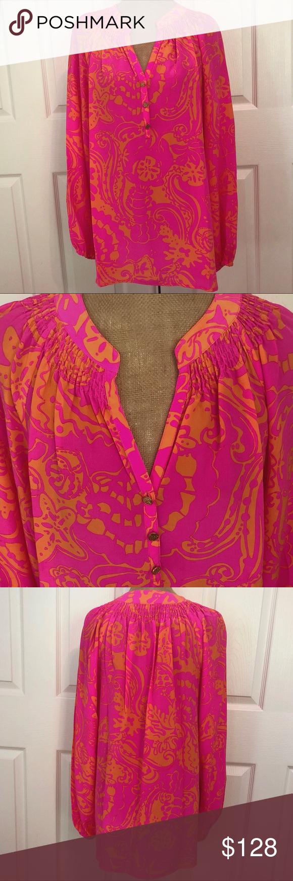 Hot pink and orange dress  EUC Lilly Pulitzer Silk Elsa Top Pink Seaesta L  My Posh Closet