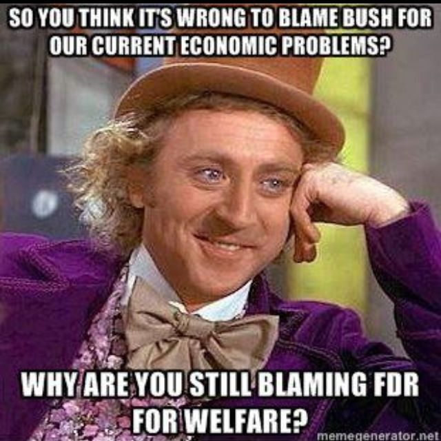 Blaming FDR but not Bush? Hear this all the time from Republicans.