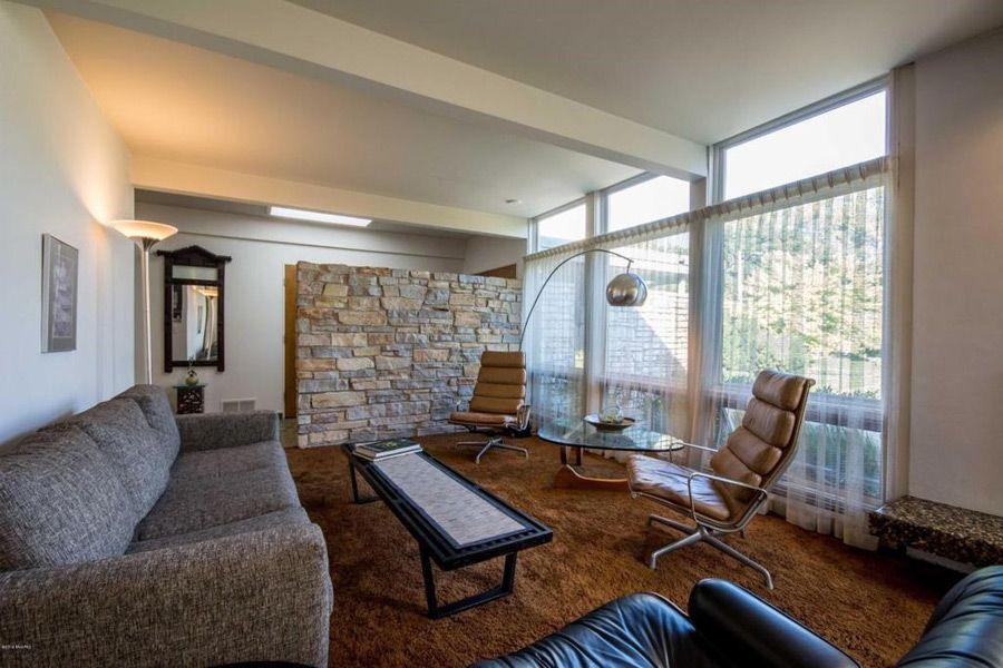 Great MCM Living Room in this Grand Rapids MI Home | Modern Homes ...