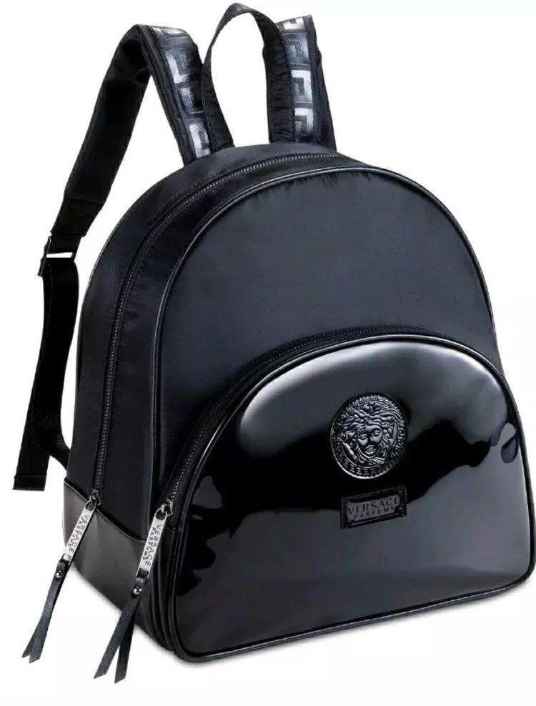10d9c55809 Versace Parfums Black BackPack Medusa Head Handbag faux patent leather. Nwt   fashion  clothing