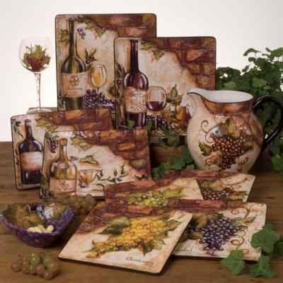 Tuscan Old World Wine Cellar 24 Pc Dinnerware Set Handpainted