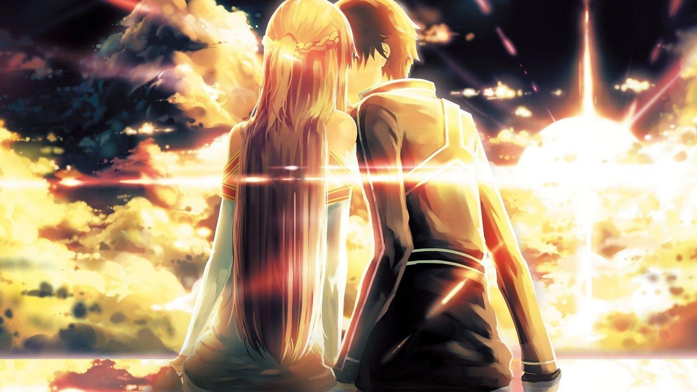 yuuki-asuna-kirito-kiss-1366x768.jpg (1366×768) | Sword Art Online ...