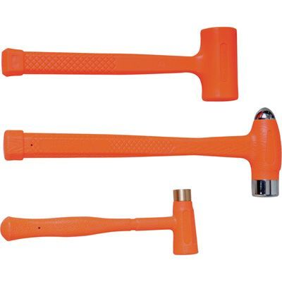 These Ironton hammers will not mark or spark, preventing surface damage and protecting both the workpiece and user. Set includes 1/2-lb. dead blow hammer, 12-oz. brass hammer and 1-lb. ball-peen hammer.