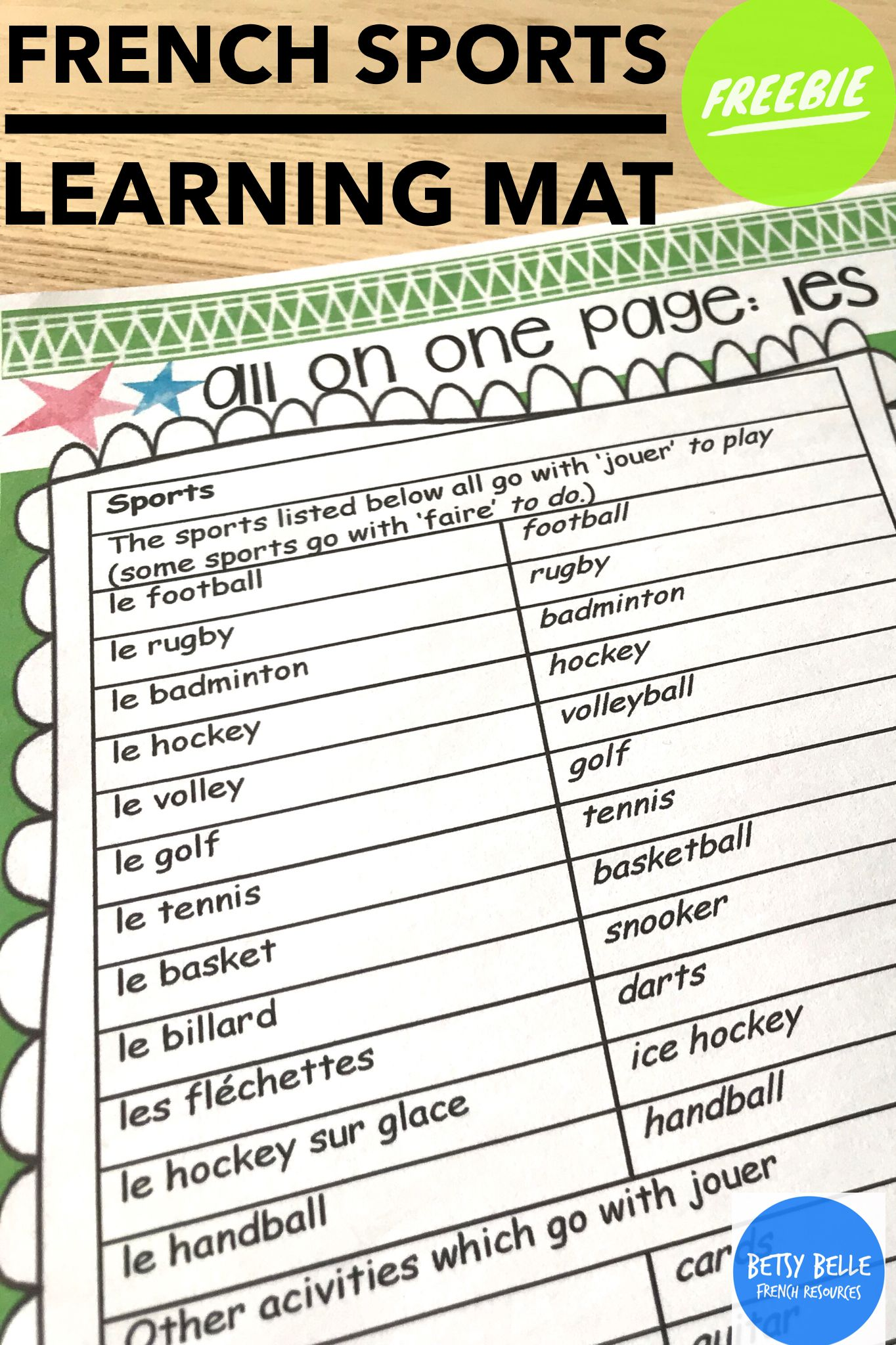 French Learning Mat Sports Les Sports Learn French Teaching French Teaching Resources