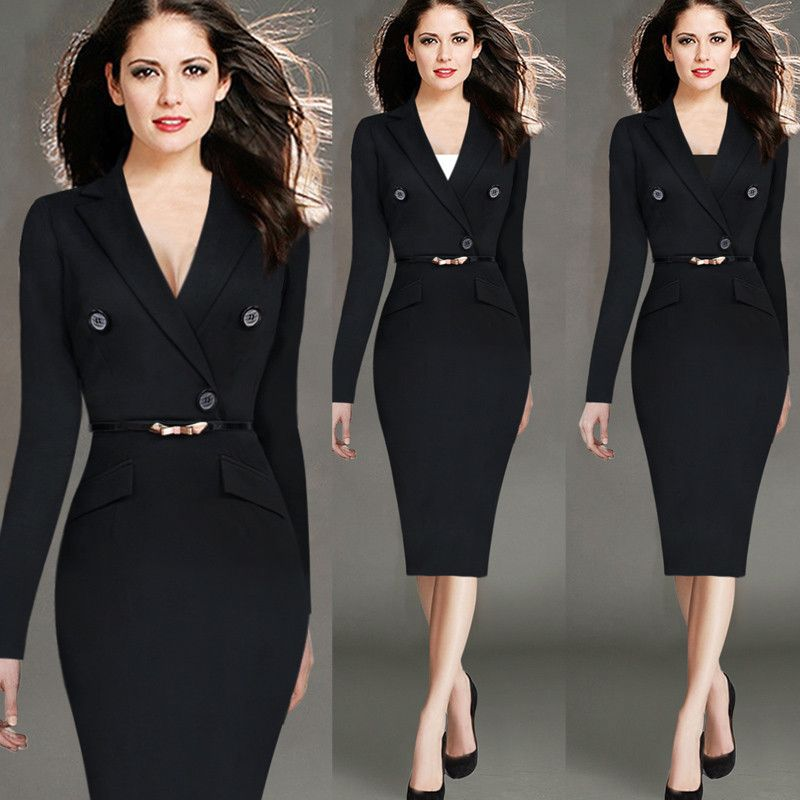 Hot Selling Women Elegant Fashion Plus Size S-4XL Office Work ...