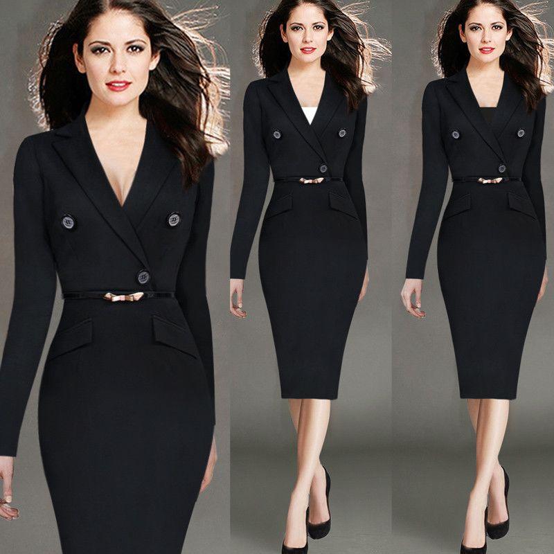511d36dba8c48 Barato Venda quente mulheres elegantes moda Plus Size S 4XL vestidos  escritório de trabalho com decote em V manga comprida sólidos estiramento  na altura do ...