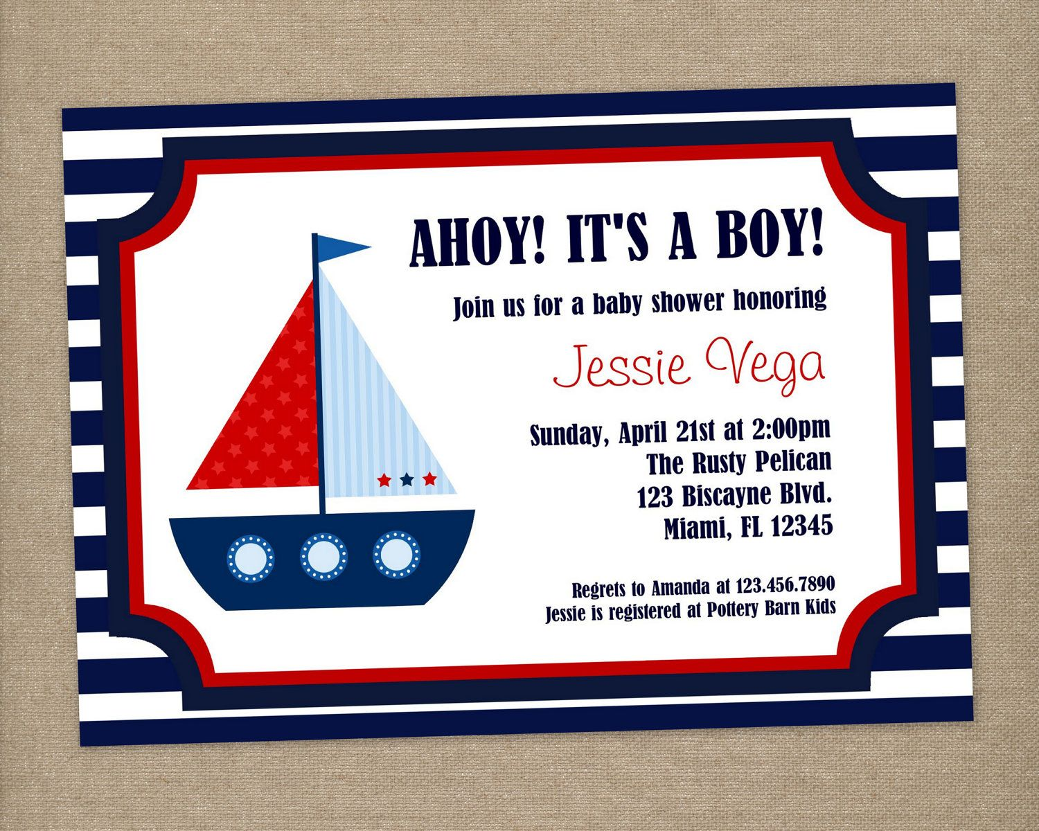 Nautical Baby Shower Invitation, Nautical Invitation, Printable, DIY