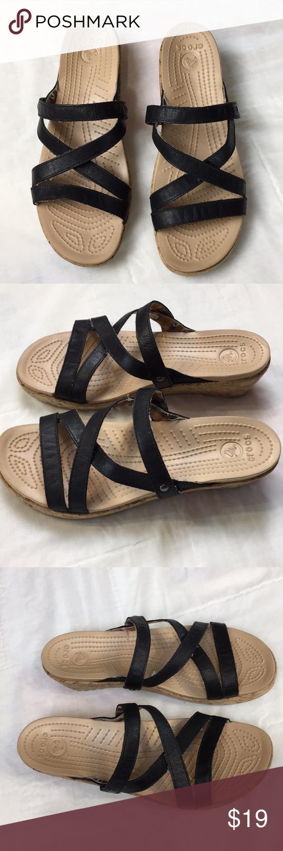 b09b40dda29 Crocs A-Leigh cork wrap wedges black straps sz 9 Crocs A-Leigh cork wrap  wedges black straps size 9 Slip on sandals EUC CROCS Shoes Sandals