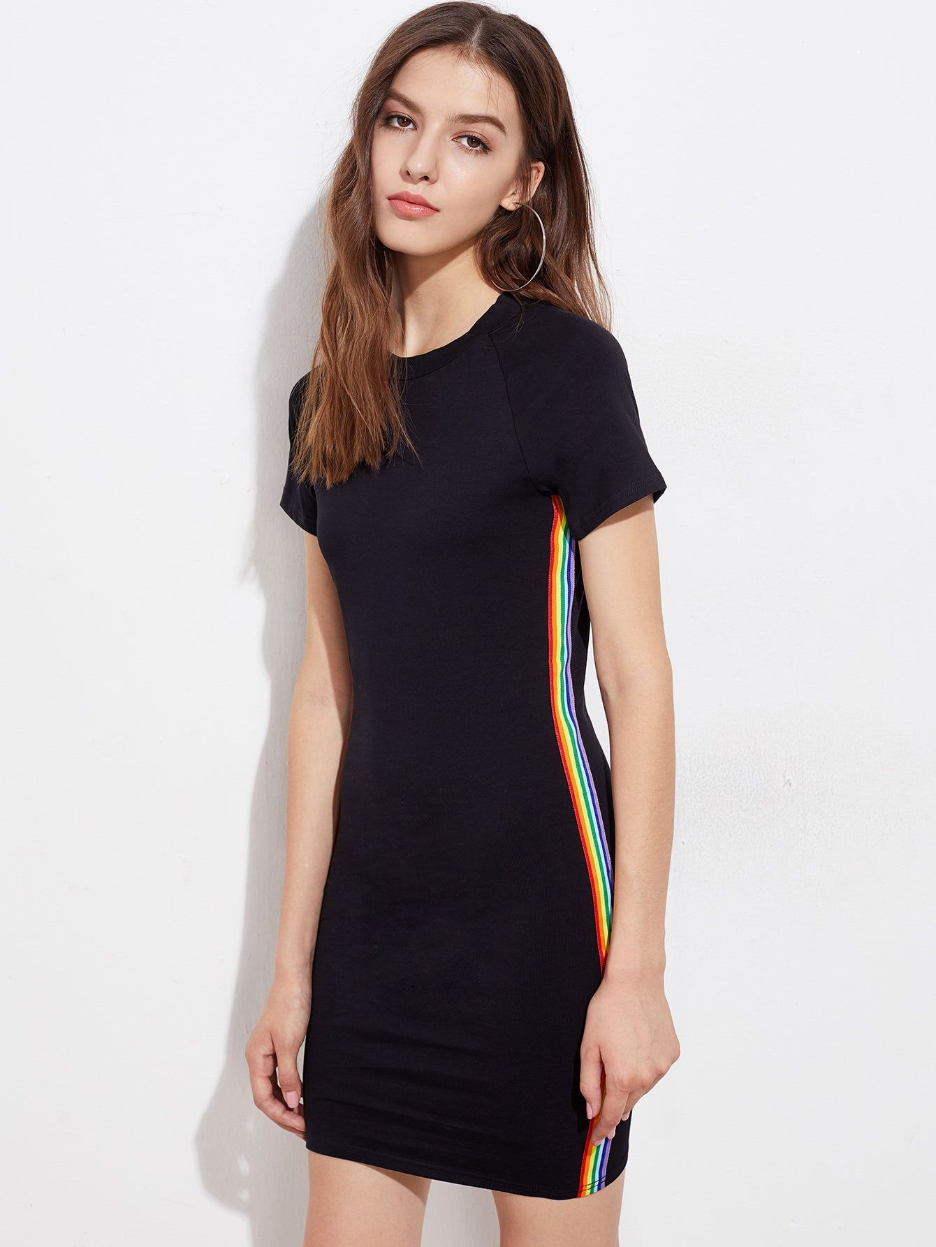 f8d53170d4 Shop Rainbow Stripe Side Tee Dress online. SheIn offers Rainbow Stripe Side Tee  Dress & more to fit your fashionable needs.