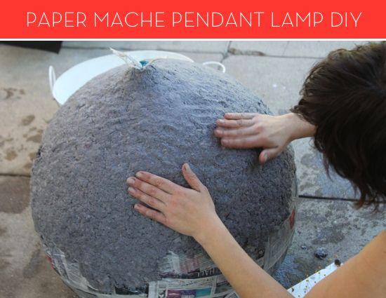 How To Make A Modern Paper Mache Lamp Paper Mache Paper Mache Mask Diy Paper