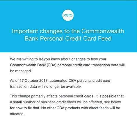 ... CBA Are Removing Bank Feeds For All Personal Credit Card Products   Business  Credit Card Agreement ...