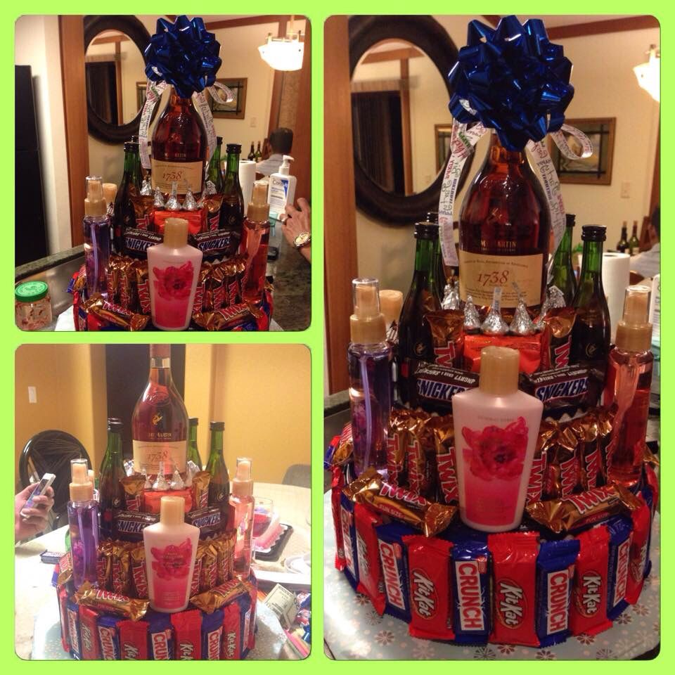 Candy Cake Gift.. Chocolates, With 1738 liquor, mini size Remy ...