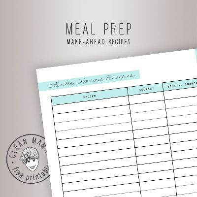 MAKEAHEAD RECIPES Clean Mama Menu planning printable