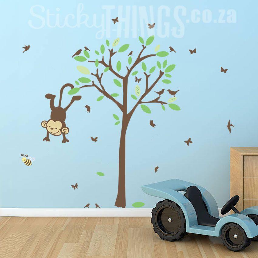 monkey tree nursery wall decal - monkey tree wall sticker