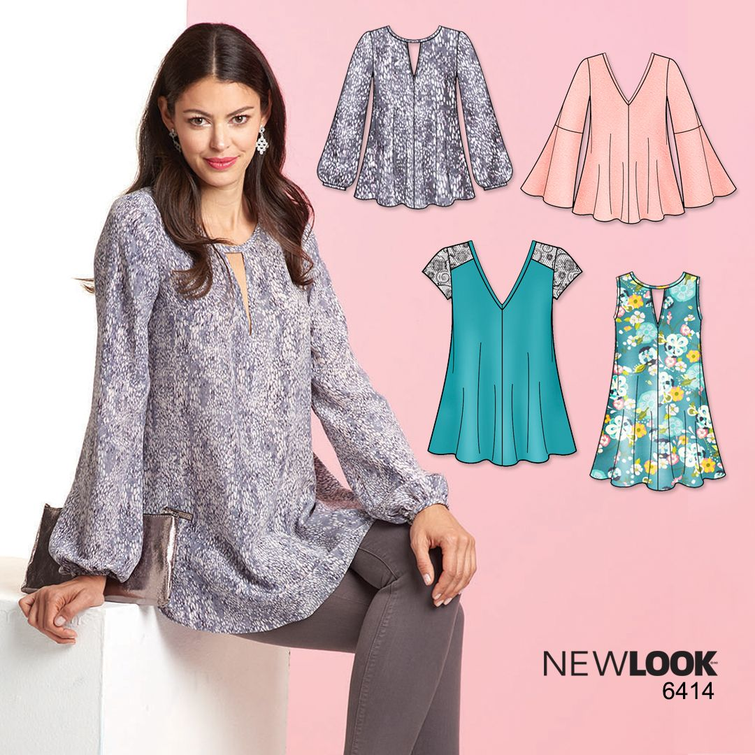 Lovely tunic with keyhole neckline that's good for any occasion! New Look pattern 6414