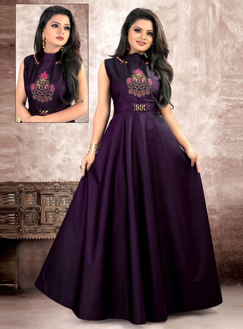 e9abe3855ee Shop Purple Taffeta Readymade Gown 142474 online at best price from vast  collection of designer kurti at Indianclothstore.com.