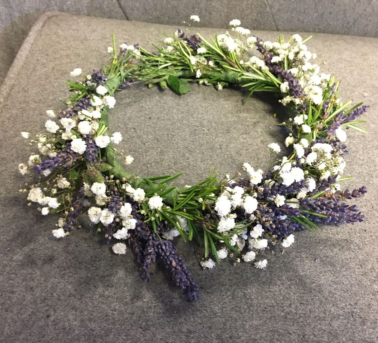 A Bespoke Floral Crown Made Of Fragrant Rosemary Dried Lavender And