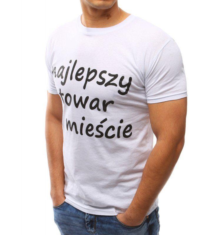 63eb00b56406 Pánska biele tričko s potlačou