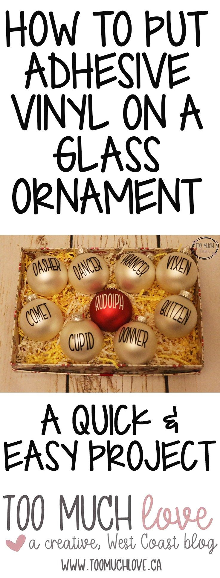 How to Put Adhesive Vinyl on a Glass Ornament #diychristmasgifts