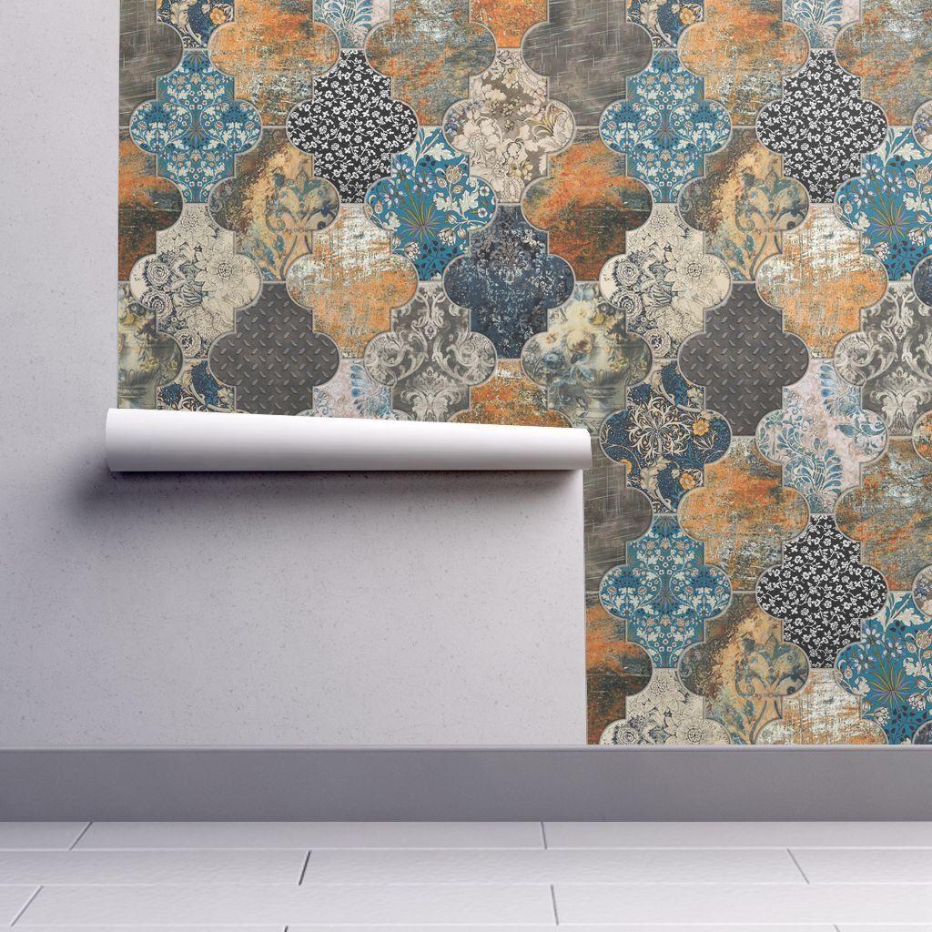 Moroccan Tiles Wallpaper Rust Orange Blue Removable Peel And Etsy Tile Wallpaper Wallpaper Moroccan Tiles