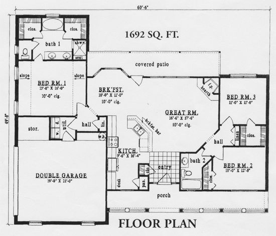 His and her closets. the best 1600 sq ft house plans | Back ... Ranch House Plans Sq Feet on simple house plans, ranch house plans, open house plans, most popular texas house plans, small house plans, sq ft. house plans,