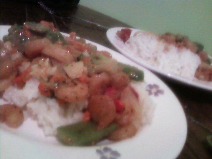 Honey shrimp stirfry!