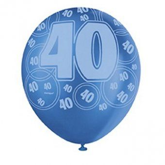 Blue Glitz 40th Birthday Balloons 40th Birthday Party Decoration