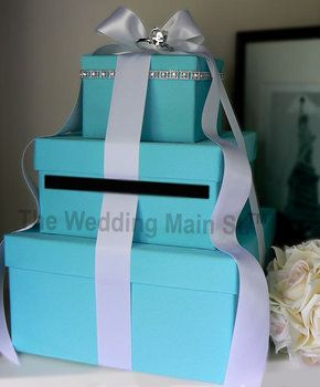 Tiffany Blue Card Box Wedding Colors Are Black Ivory Silver And