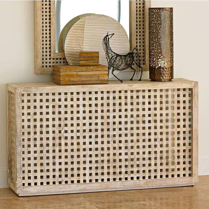 Global Views Oceanside Driftwood Lattice Console   #10R55 | Lamps Plus