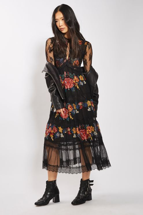 Super Specials Cheap Sale Good Selling Tiered Floral-jacquard Midi Dress - Black Co Free Shipping Manchester Gc46r