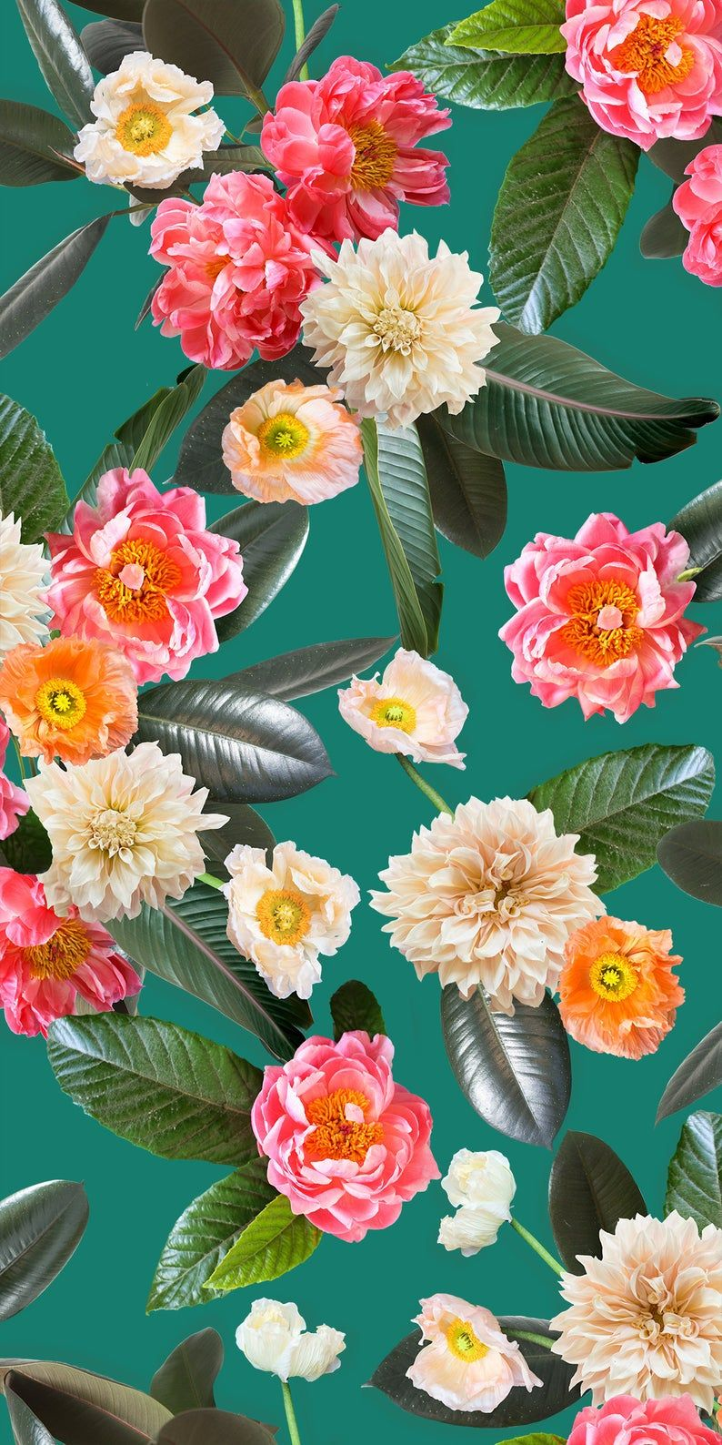 Flower Party Traditional Wallpaper Prepasted & Removable