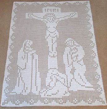 The Crucifixion Jesus Christ Wallhanging Vintage Thread Crochet Pattern #filetcrochet