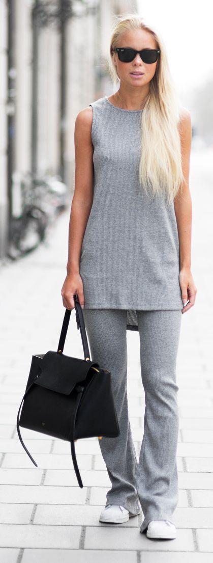 Grey Flare Set Outfit Idea