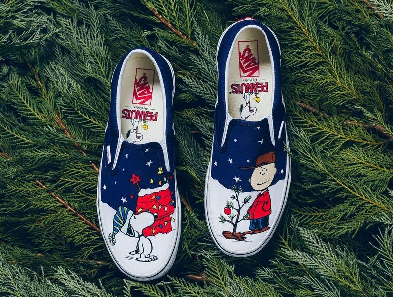 374d5d32a6 The Vans Slip-On Peanuts edition celebrates Charlie Brown s iconic Christmas  Tree with cartoon graphics of him and snoopy along with branded insoles.