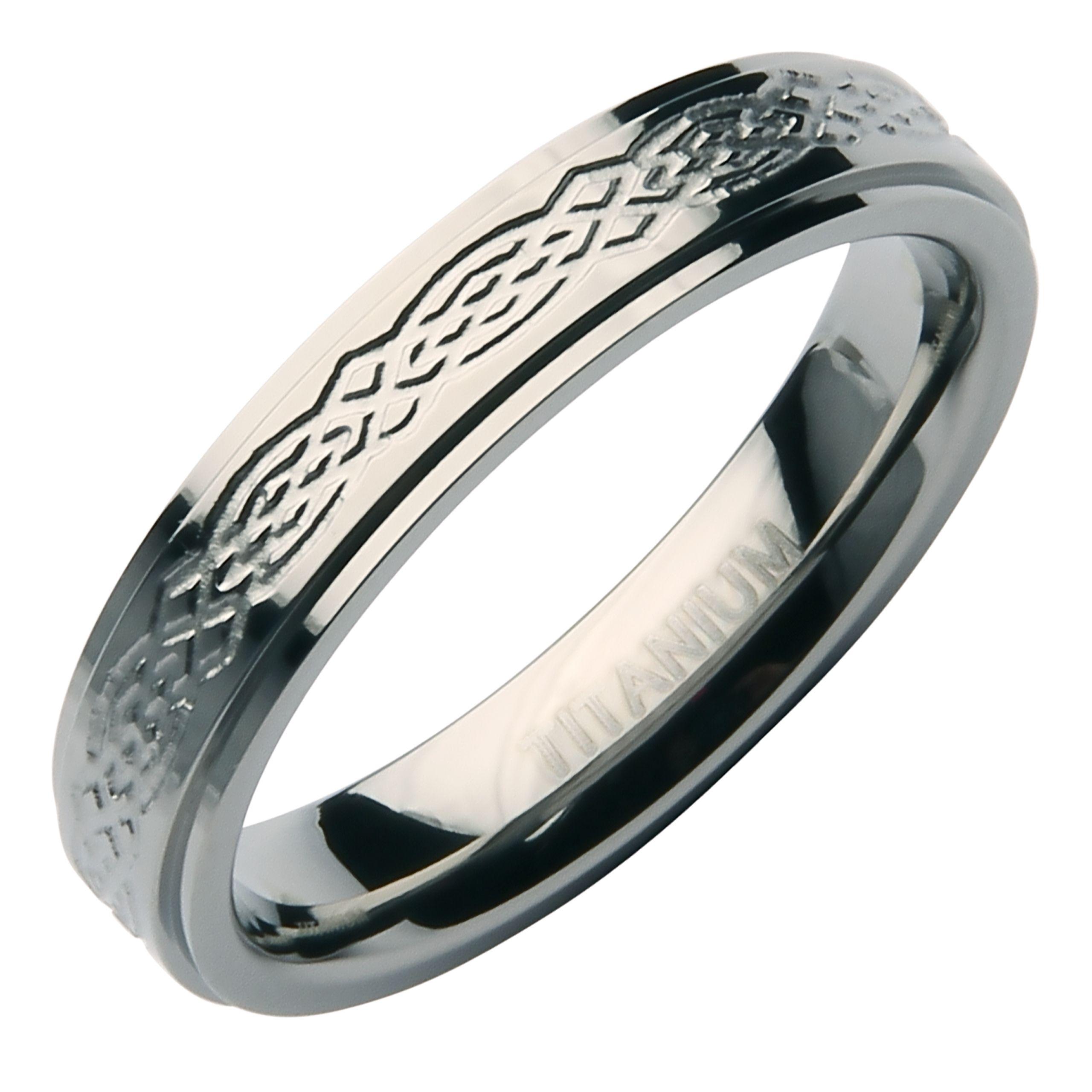 4mm Stunning Designed Titanium Wedding Band Titanium