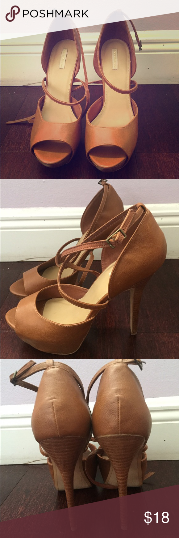 Brown open toe pumps Gently used brown pumps with cute ankle strap for more security when walking! These pumps were only worn twice and are in great condition! Bershka Shoes Heels