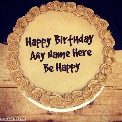 Elegant Chocolate Birthday Cake With Name Cake Name Pictures