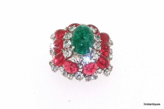 Vintage 1966 Christian Dior Germany Brooch Ruby by HirstAntiques